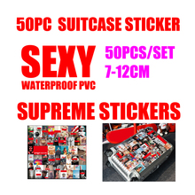 7-12cm 50pcs/set Supreme Stickers DIY Adhesive Sticker Fashion brand sexy high quality waterproof PVC For Suitcase Refrigerator