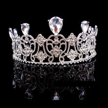 Vintage European Design Large Rhinestone Princess Pageant Head Crown Bridal Wedding Party Hair Accessories Queen Prom Tiaras