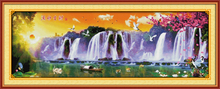 Running water brings wealth home decor diy painting counted print on canvas Cross Stitch Embroidery kits Needlework Sets
