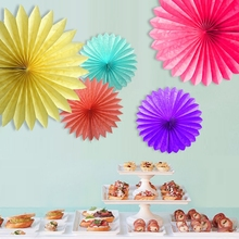 Decorative Wedding Paper Crafts 15/20/25/30CM 1PCS Flower Origami Paper Fan DIY Wedding Birthday Party Decorations Supplies Kids(China)
