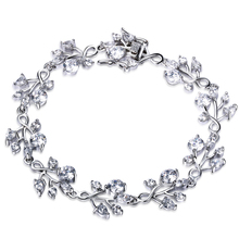 Spring Summer Trending styles Romantic flower shape Top grade zirconia Crystal bridal bracelet wedding jewelry