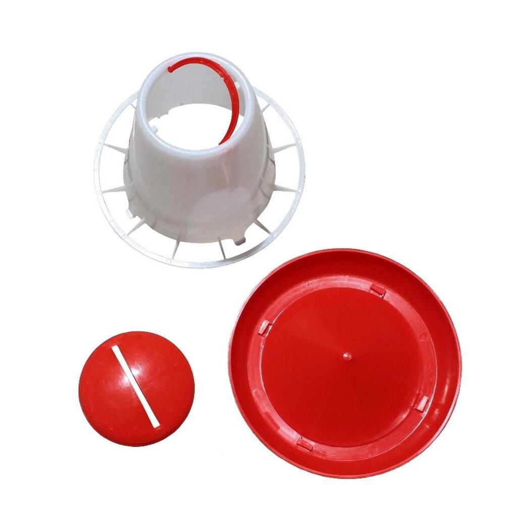 1.5kg red plastic feeder baby chicken chicks hen poultry feeder lid/&handle EL