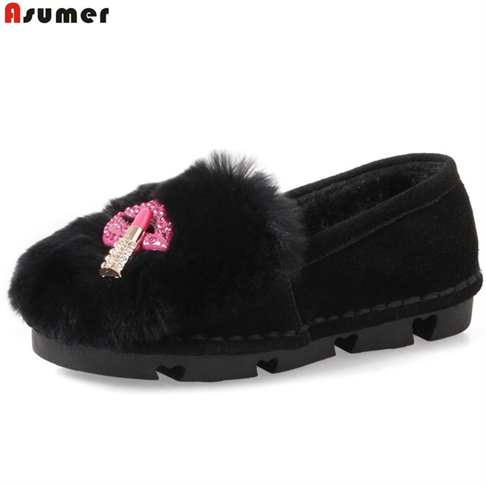 ASUMER black red gray fashion autumn winter ladies shoes round toe casual keep warm comfortable women suede leather flats shoes<br>