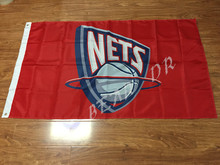 New Jersey Nets Wordmark Flag 3ft x 5ft Polyester NBA New Jersey Nets Banner Flying Size No.4 144* 96cm Custom flag(China)