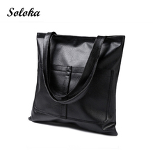 Casual Women Shoulder Bags PU Leather Female Big Tote Bags Simplified Handbag Large Capacity Shopping Bag Soft-Handle Bags 2017