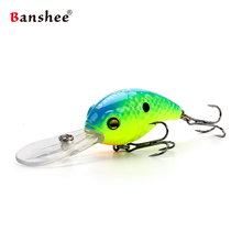 Banshee 50mm 10g Floating Bass Fishing Lure VC04 Rattle Sound Wobbler Round Bill Artificial Hard Bait Deep Diving Crankbaits(China)