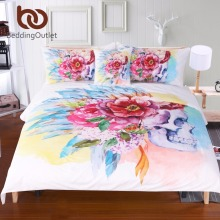 BeddingOutlet Colorful Skull and Floral Duvet Cover Set 4 Pieces Super Soft Bedclothes Flowers Printed Bedding Set Luxury(China)