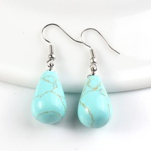 Kraft-beads Elegant Style Silver Plated Green Turquoises Stone Tear Drop Earrings Set For Women Gift Fashion Jewelry(China)
