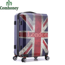 20 Inch Vintage Suitcase with Wheels Brithsh Flag Women Luggage London ABS Retro Travel Suitcase on Wheels Spinner Trolley Bags