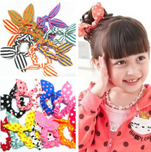 10 Pcs/lot New Arrival Mini Small Bunny Rabbit Ears Headband Hair Rope Rubber Bands Girls' Kids Cute hair Accessories(China)