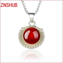 2017New simple fashion female imitation pearl shell pendant 925 sterling silver crystal pendant necklace jewelry wholesale