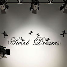 lettering words sweet dreams butterfly vinyl quotes wall stickers quotes wall decals for bedroom living room decor(China)