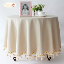 1 Piece Simple Pure Color Cotton and Linen Table Cloth/ Rural Style Round Table Cloth/ European High-grade Adornment Tablecloth