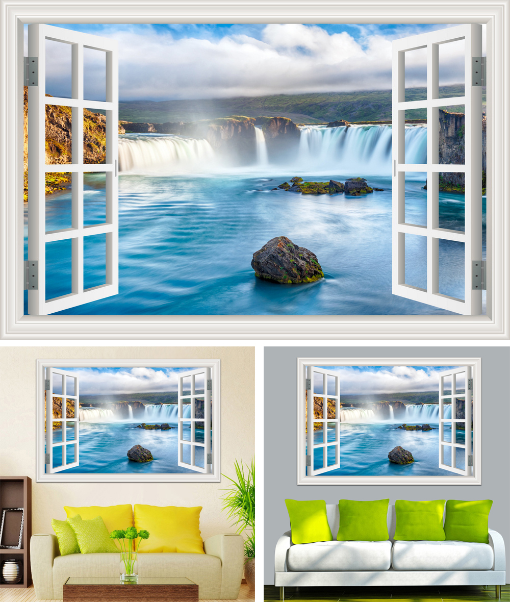 HTB1K.rib6gy uJjSZPxq6ynNpXap - Waterfall 3D Window View Wallpaper Nature Landscape Wall Decals for Living Room