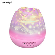 Tanbaby Starry Sky Dreamer Projector Night Light Romantic Rose Bud Shaped Rotating Sleep/Relax Lighting for Children Baby Lover