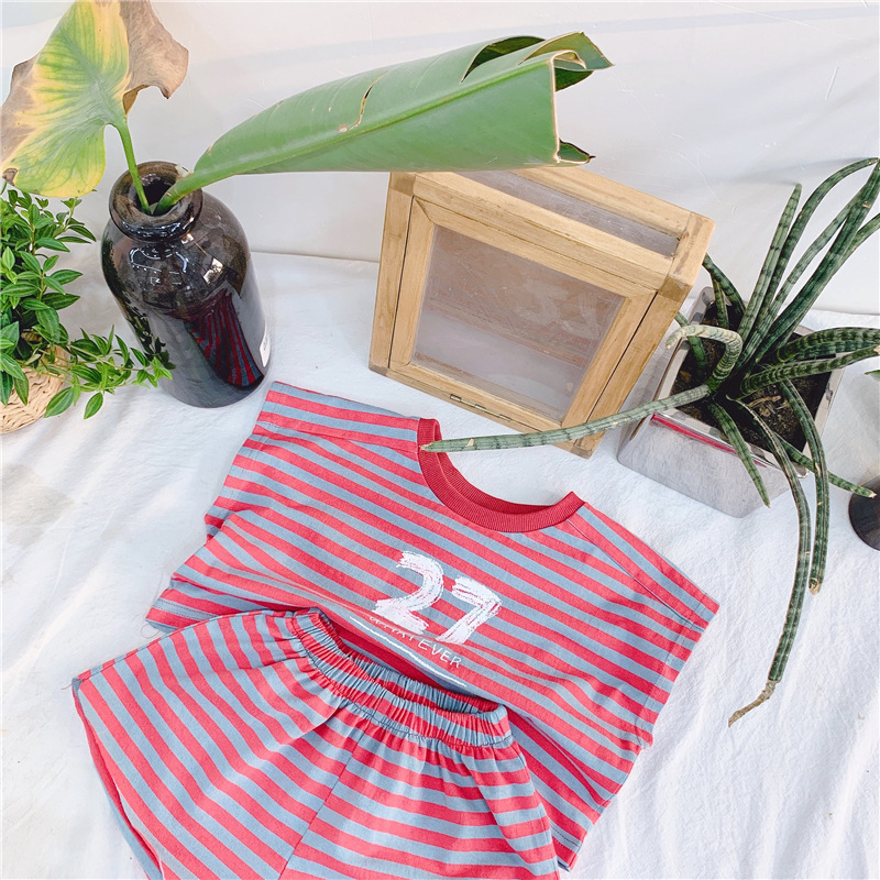 2019 New Style Girls Boys 2PCS Set Striped T-Shirt+Shorts Cotton Summer Fashion Girls Suits 1-6 years