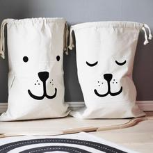New White Large Baby Toys Storage Canvas Cartoon Animals Printed Bags Laundry Hanging Drawstring Organizer  For Home Supplies