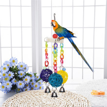 1Pcs Colorful Wood Loofah Pet parrots Birds Toys Aeolian Bells Stand For Birds To Play Bite Climb Newest 2017(China)