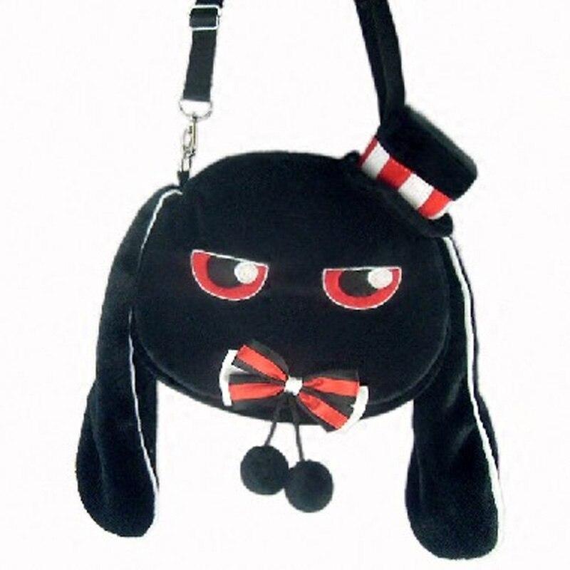 Women Cartoon Harajuku Rabbit Lolita Bag Handbag Winter Plush Soft Shoulder Bag Bunny Cute Crossbody Bolsa with Bowknot and Hat<br>
