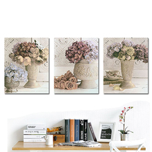 Unframed 3pcs Europe Style Floral Retro Wall Home Decor Canvas Painting For Room Decoration Print Painting Artwork