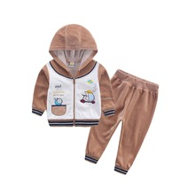 2017 Children Outfits infant clothing baby clothes kid suit child gament boys set habiliment girl apparel velvet costume outfits(China)