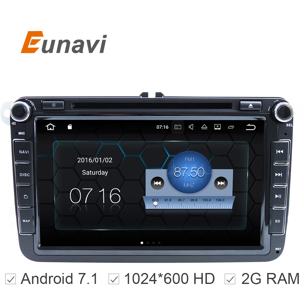 8 inch Quad Core Pure Android 7.1 2 Din Car DVD For VW JETTA Tiguan Passat B6Touran Caddy Amarok Golf EOS DAB Bluetooth GPS(China (Mainland))