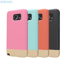 BORNDO Dual Shockproof Protection Hybrid Armor Shell hard Back Cover 2 Part Slider Case For Samsung Note5 Ultra Thin Capa Fundas