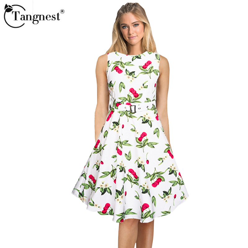 TANGNEST Women Summer A-Line Dresses 2017 Fashion Style Print Mid-Calf Elegant Pleated Young Ladies Cute Dresses WQW2088(China (Mainland))