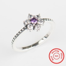 Modian 100% Real 925 Sterling silver Purple Crystal flowers Ring Classic Beautiful Finger Rings Engagement Fashion Jewelry