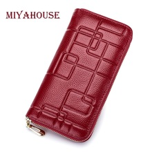 Miyahouse Real Genuine Leather Women Wallets Geometric Design High Quality Cell phone Card Holder Long Lady Wallet Purse Clutch