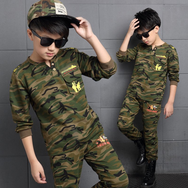 Clothes Boys camouflage colour Tracksuits 2017 Autumn Children Clothing Sets Kids Long Sleeve T-shirt + Pants Sports Outfit<br><br>Aliexpress