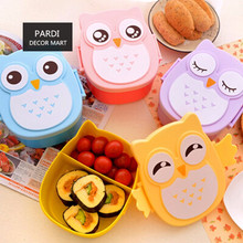 Hot selling Colorful Owl lunch-box cute student lunch-box kids dinner pail crisper hermetically-sealed box 1pc/lot