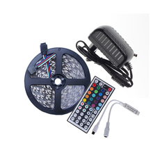 DC12V LED Strip Set 5 Meter Flexible light LED Strip Light Single Color,LED Strip 5050 RGB 44Key controller+12V Power adapter