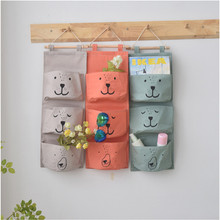 Wall Hanging Storage Bags Organizer Linen Closet Children Room Organizer Pouch for Toys Books Cosmetic Sundries IC979838(China)