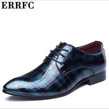ERRFC Hot Selling Men Dress Shoes Pointed Toe Lace Up Print Pattern Leisure Trending Red Leather Shoes Man Plus Size 12 13 14(China)
