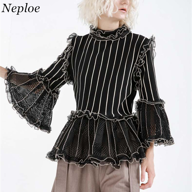 Neploe Stripped Ruffles Vintage Women Blouse Puff Sleeves Hollow Out Female Top 2019 Autumn New Eloegant Grace Chic Blusa 68778