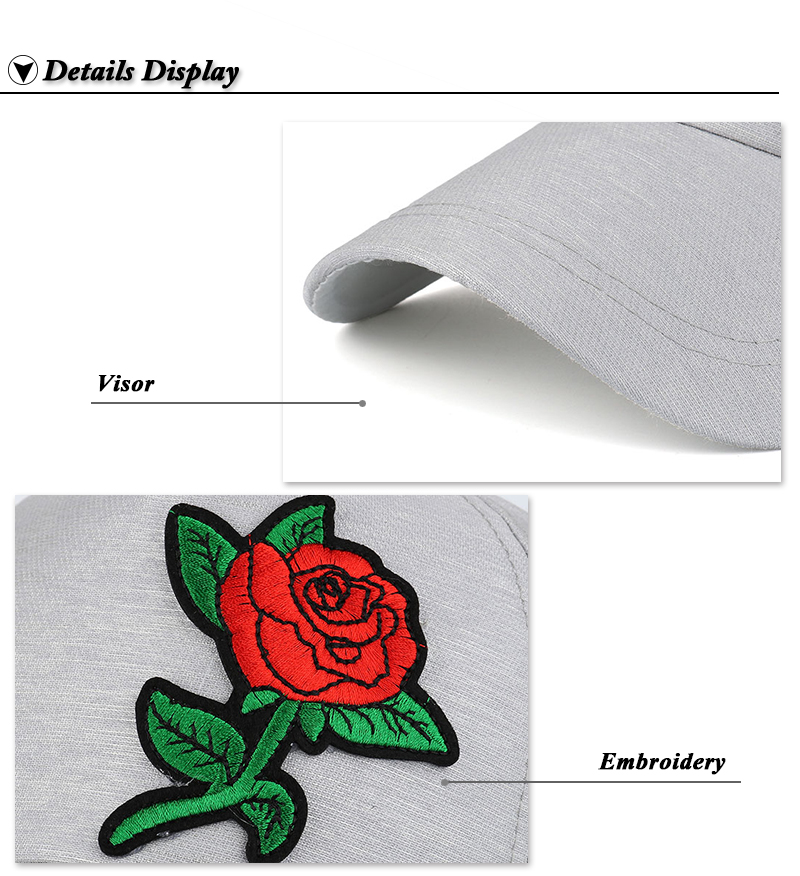 Small Embroidered Flower Snapback Cap - Brim and Embroidery Details