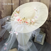 Pink Flower Tulle Veil Attached Wedding Bridal Hat Fine Linen Bridal Hair Accessory Bride Mother Special Occasion Hat(China)