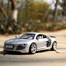 1:32 simulation Mini Audi R8 Sports car Die-cast metal Alloy car model Pull Back Flashing Musical Can open the door kids toys(China)