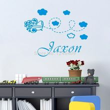 Custom made Personalized Name  Aeroplane Baby Kids Cot dress room wall decal decor wall sticker-You choose name and color