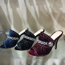 Retro And Sexy Sewing Crystal High Heel Slippers Modern Peep Toe High Heels Striking Fashion Trend Women Shoes