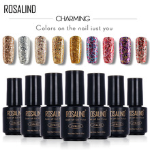 ROSALIND Black Bottle 7ML Diamond Glitter W01-29 Gel Nail Polish Nail Art Nail Gel Polish UV&LED Soak-Off Glitter Platinum Glue