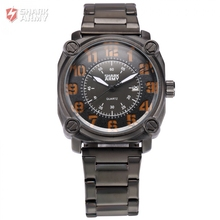 Shark Army Auto Date Calendar Black Orange Stainless Steel Band Analog Quartz Military Male Clock Men Sports Watches /SAW140(China)