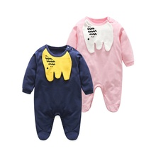 Qianquhui 2017 Long Sleeve Boys Girls Cute Elephants Print Baby Clothes Children's Rompers Jumpsuit