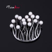 MloveAcc Antique Black U Shape Retro Brooches Jewelry Vintage Women's Fashion Dress Accessories Stone Brooch Pins Wholesale