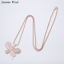 Janewu Wind rose gold color popcorn chain opal Lucky grass butterfly dragonfly Pendant Necklace women