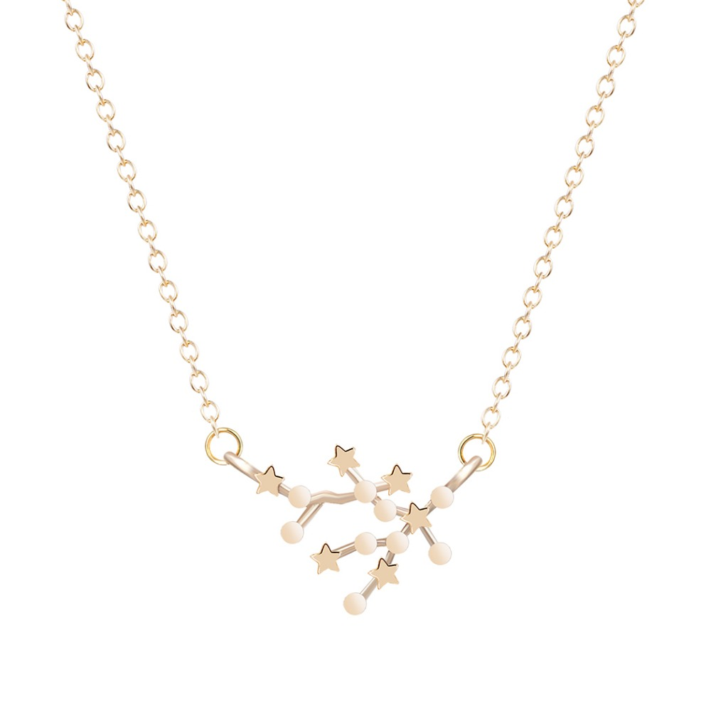 FREE GIFT BAG Gold Plated GEMINI Zodiac Sign Astrology Necklace Constellation