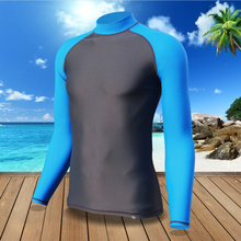 Men Snorkeling Swimming Surfing Rash Guard Quick-Dry Diving Suit blue Swimsuit Clothing Tight Shirts Tops Wetsuit