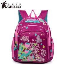 GRIZZLY Kids Cute SchoolBags for Children Orthopedic Waterproof School Backpack for Girls SchoolBags During the spinal backpack(China)