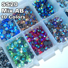 Mix Colors AB with Box ! 10 colors SS20 1000pcs/Bag DMC Hot Fix Rhinestones HotFix  stone Garment Crystal Glass Material Y0020